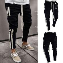 Pantalones vaqueros de mezclilla negros delgados con agujeros rasgados a la moda  Hip hop Skinny pencil Jeans para hombres high s. f363b1497f1