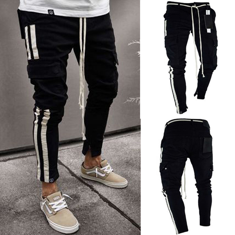 Pantalones vaqueros de mezclilla negros delgados con agujeros rasgados a la moda  Hip hop Skinny pencil Jeans para hombres high street wear stretch striped  ... 21081ebdb2e