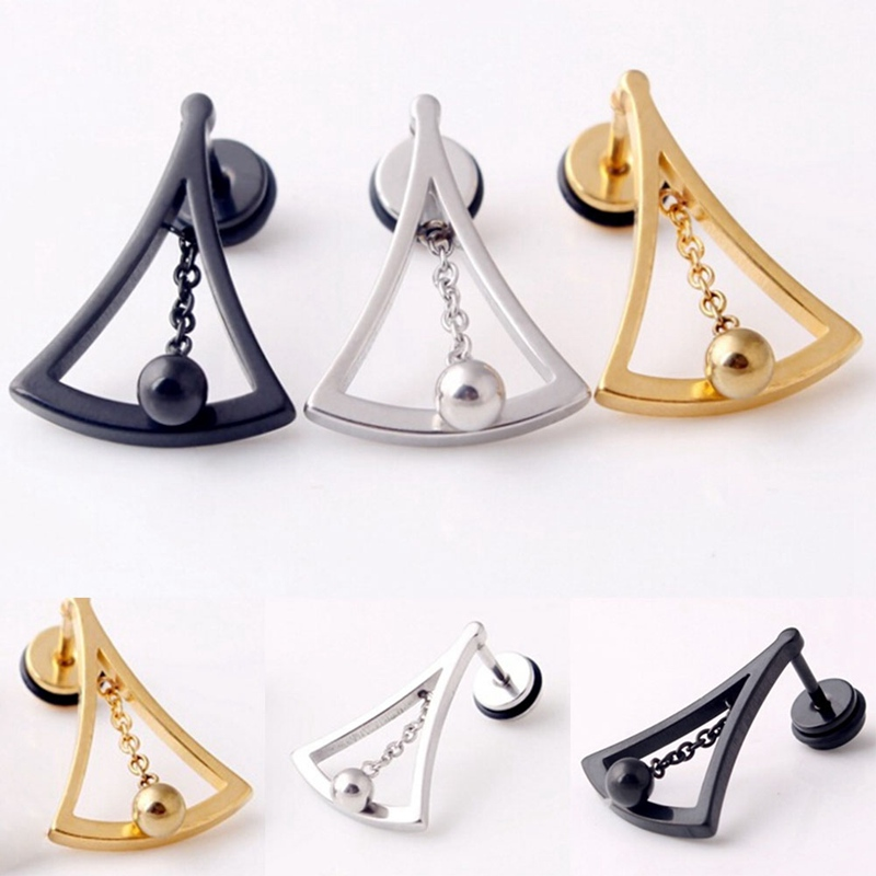 1 pc! Fashion Punk Silver gold Black Sector Titanium Steel Women Men Hollow Clock Hypnosis Chain Earrings Brincos Jewelry