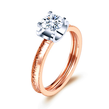 ZHJIASHUN Genuine Moissanites Diamond D-F Color 14k 585 White Rose Gold Wedding Ring For Women Fine Jewelry 4