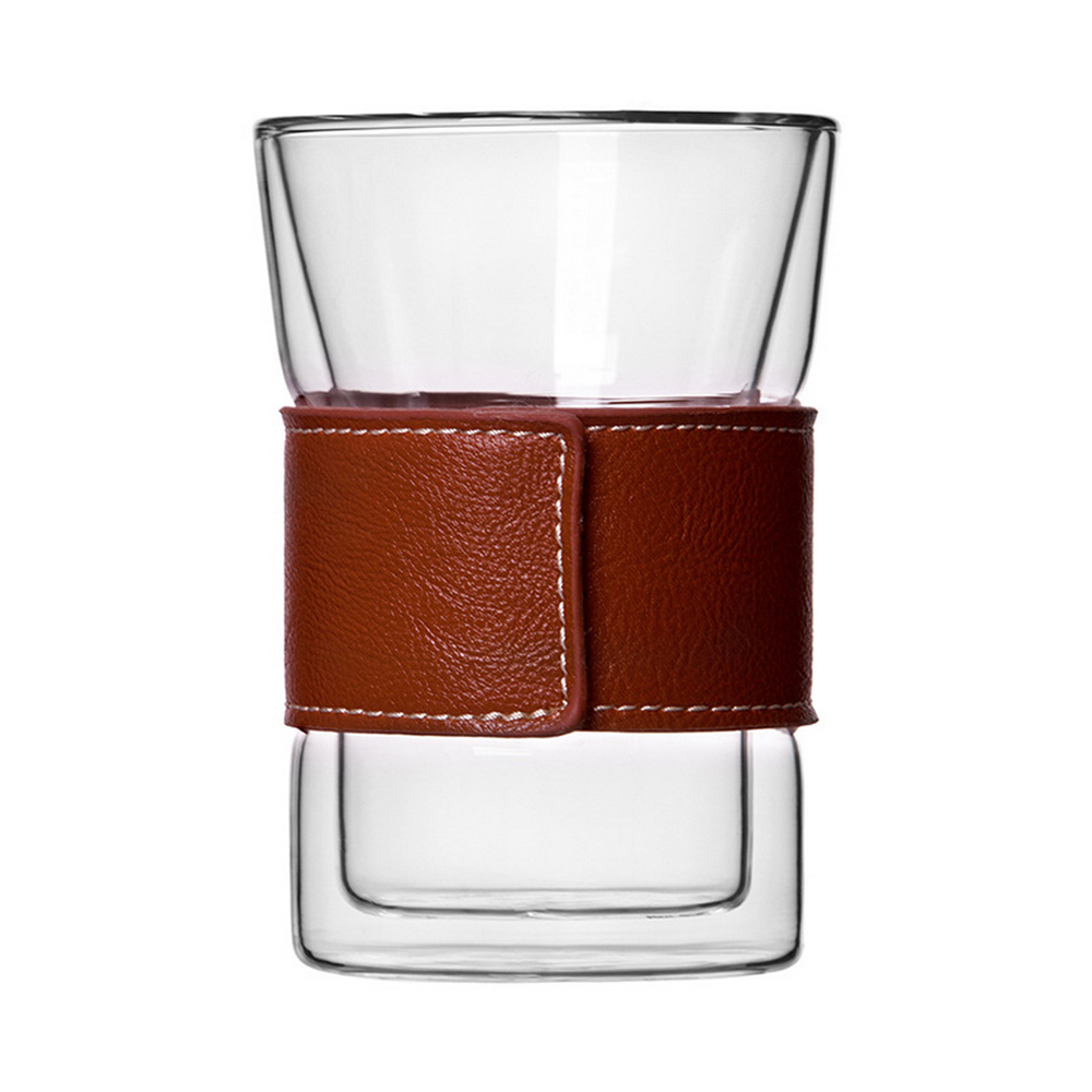<font><b>Double-deck</b></font> <font><b>Glass</b></font> Tea <font><b>Cup</b></font> Coffee <font><b>Cup</b></font> Milk <font><b>Cup</b></font> with Leather Case Drinkware Tableware Juice <font><b>Glass</b></font> Sleeve Free Shipping