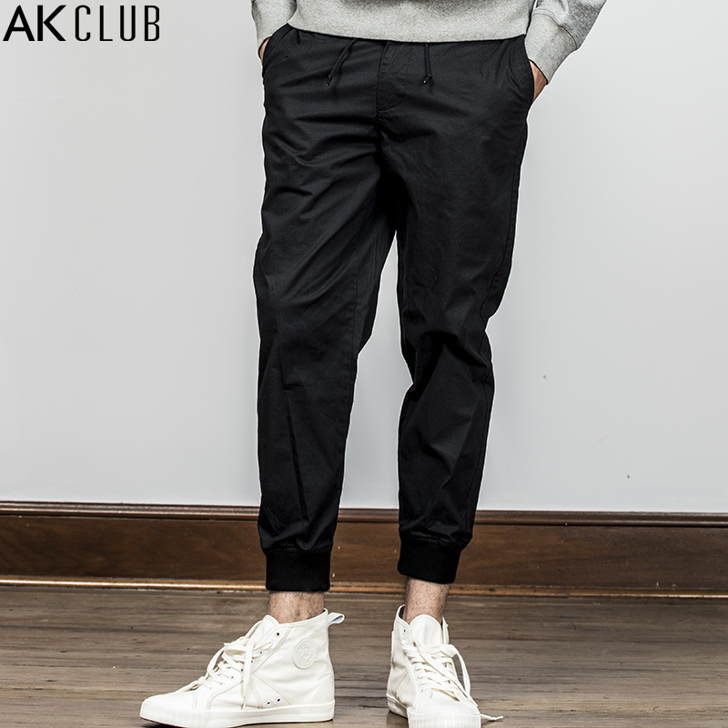 AK CLUB Men Pants Solid Cotton Turnip Pants Vintage Style Ankle Tied Pants Full Length Drawstring Casual Men Brand Pants 1812204 drawstring floral casual ankle length pants