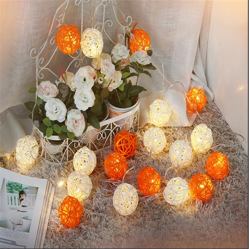 3m 20LED String Light Thailand White Orange Rattan Ball Sepak Takraw  Garlands For Hotels Bar Wedding Xmas Party Room Decoration