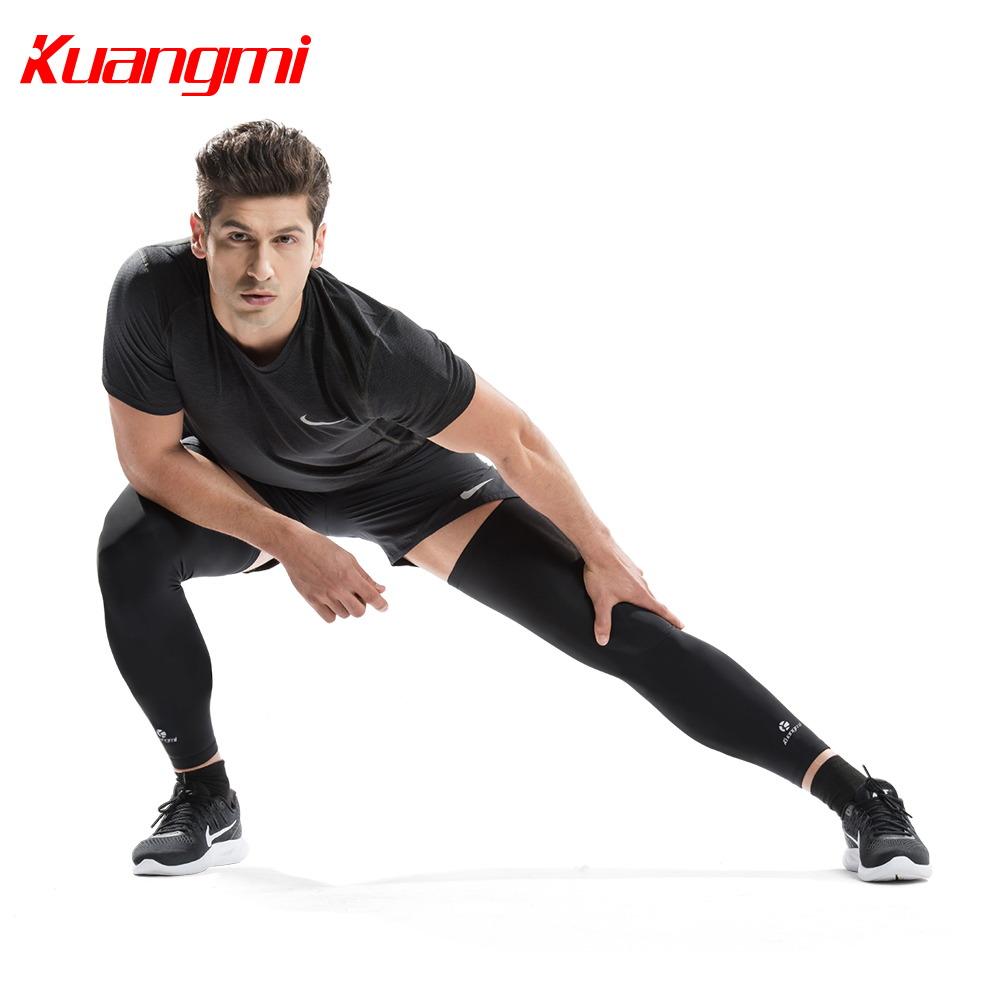 Kuangmi 2pcs Jambe Compression Manches Jambe Manches Longues Genou Soutien Ciclismo Genou Protecteur Vélo Genouillère Attelle Sport Basketball