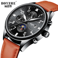 Mens Watches BOYZHE Top Brand Mechanical Watches Leather Stripe Week/Date/Moon/Month Feature Waterproof Business Wrist Watches