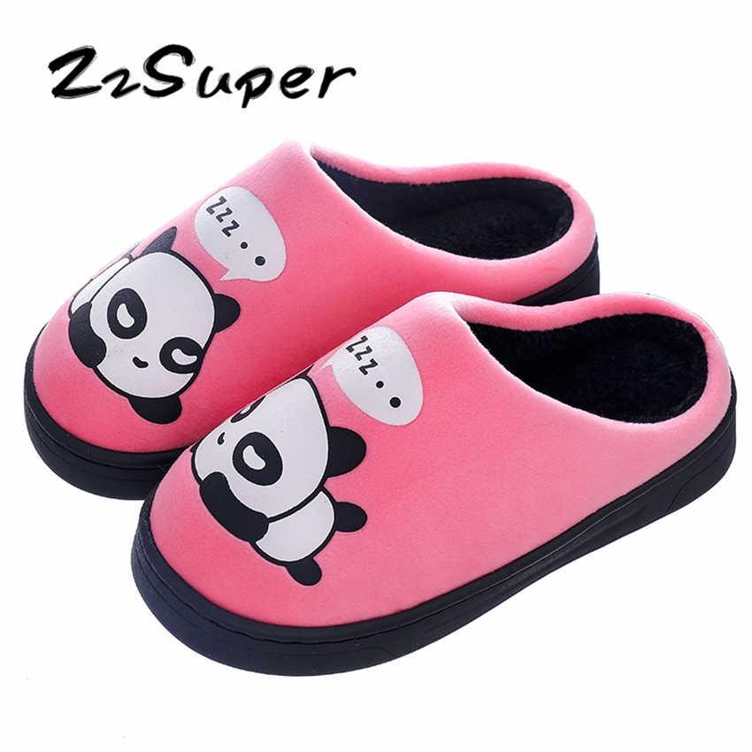 7f1b2ff99 ZzSuper дети животных Panda мех зимние комнатные тапочки теплая обувь 2018  мальчиков шлепанцы для девочек дома