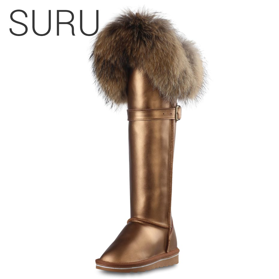 SURU Womens 2018 Luxury Winter Boots Leather With Fur High Boots Woman On Knee Gold or Black Cowleather Snow Boots