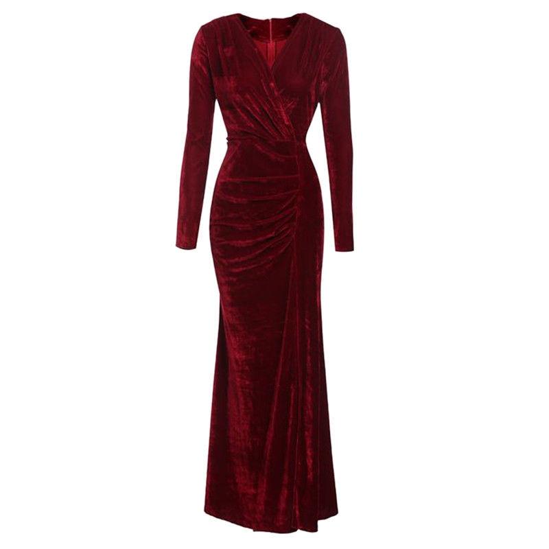 Elegant Long Sleeve Green Red Velvet Sheath Dress