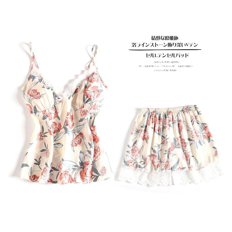Women   Pajamas   Summer Female   Pajamas     Set   Thin   Pajama     sets   Sleepwear Womens   Pajamas   Nightwear Soft Pj Lounge   Sets   M-XL Lace Shorts