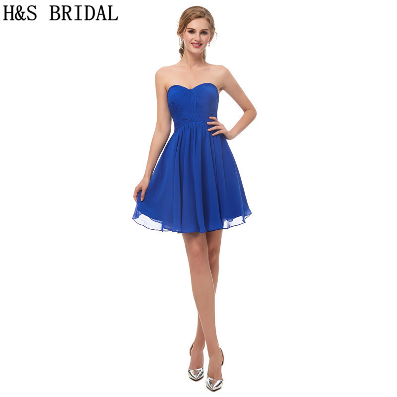 Hsbridal Royal Blue Cocktail Dresses Sweetheart Mini Cocktail Dress