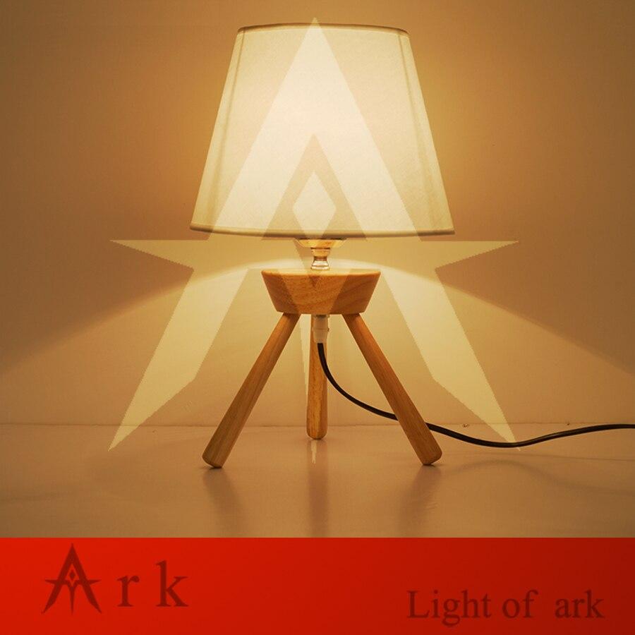 ark light Modern table lamp wood light led light Cloth lamp shade Three legs lamp bed room Office table lamp