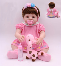 2019 Newest Girl Toys 55cm Silicone Reborn Dolls cute princess Baby Realistic Doll Reborn Boneca For Girls Bedtime Partners toy npkcollection 22 realistic soft body silicone vinyl newborn doll lovely reborn baby princess smile face doll girl bedtime toy