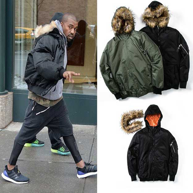 2017 Kanye West Jackets Coats Men Fur Collar 1 Brand Thick