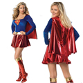 2016 Superwoman Fancy Dress Superman Halloween Costume for Women Superhero Cosplay Adult Free Size Shiny Roleplay Costume Hot
