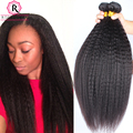 Kinky Straight Hair 7A Mink Brazilian Hair Weave Bundles Yaki Straight Human Hair Extensions Brazilian Virgin Hair Coarse Yaki