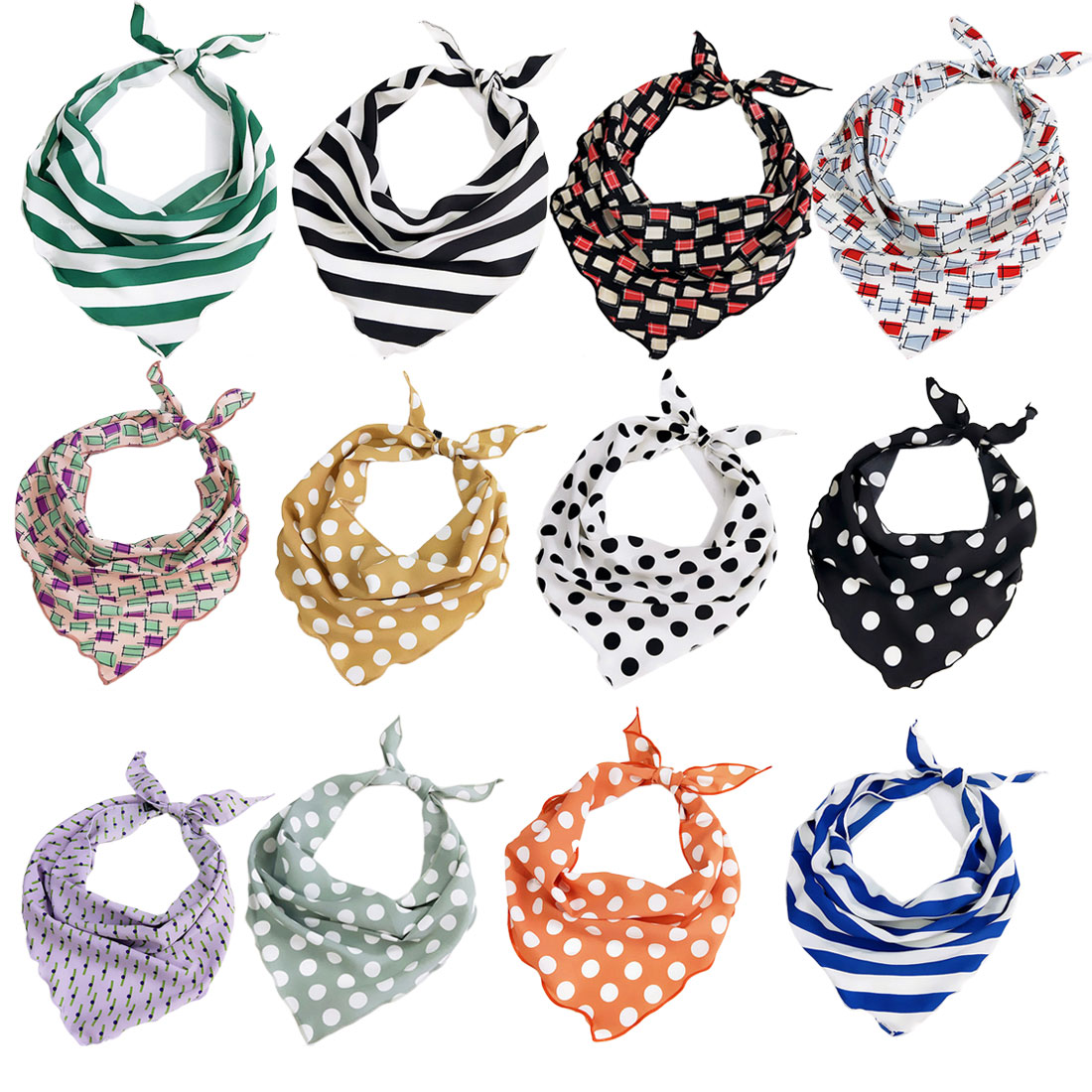Fashion Women Scarf Silk Wraps Elegant Dot Print Head Hair Neckerchief Triangle Tie Band