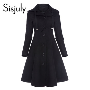 Sisjuly Women Coat Wool Winter Black Vintage Gothic Slim Elegant Overcoat Casual Lace Up Long Retro Button Female Trench Coats sisjuly 5 l