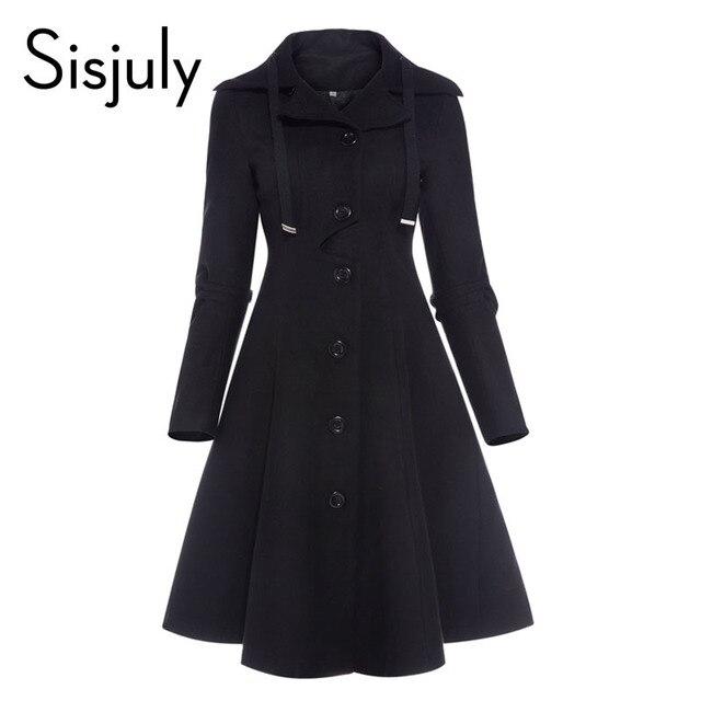 Sisjuly Women Coat Wool Winter Black Vintage Gothic Slim Elegant Overcoat Casual Lace Up Long Retro Button Female Trench Coats