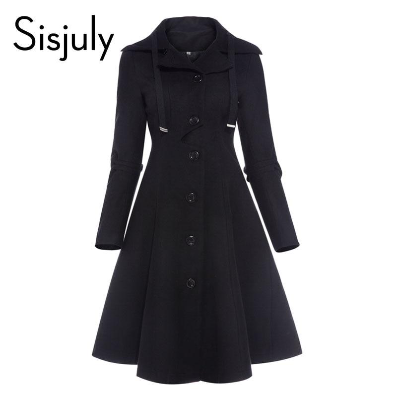 Sisjuly femmes manteau automne noir vintage gothique une ligne élégante hiver asymétrique pardessus goth lacent naturel rétro solide manteaux
