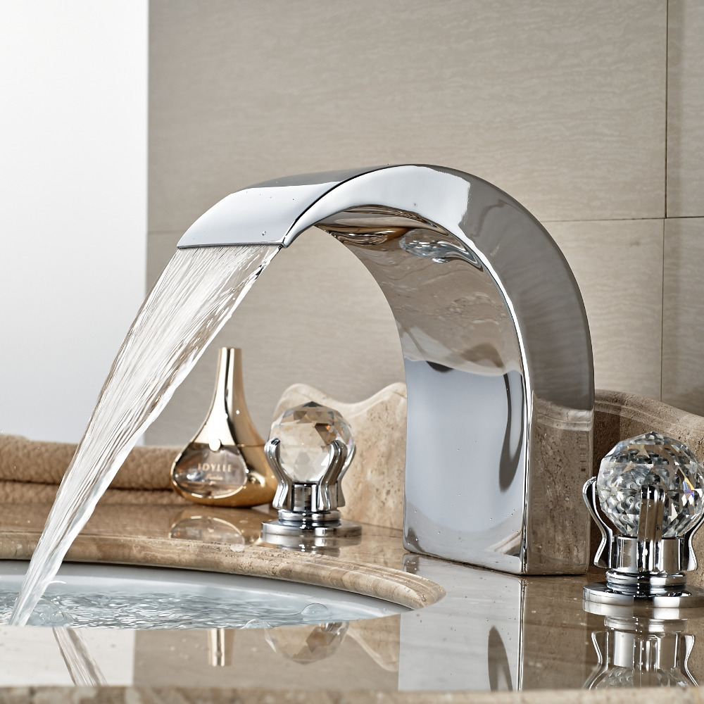 Wholesale And Retail Widespread Bathroom Tub Faucet Waterfall Spout Crystal Glass Balls Handles 8