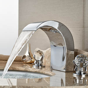 Wholesale And Retail Widespread Bathroom Tub Faucet Waterfall Spout Crystal Glass Balls Handles 8 Sink