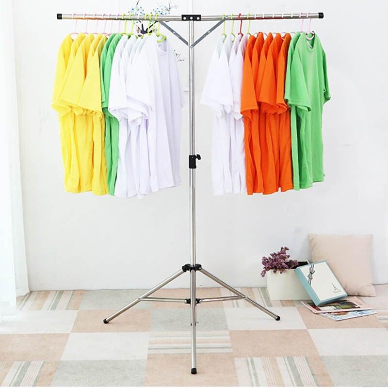 Multifonctionnel pliable vêtements séchage Rack acier inoxydable réglable vêtement vêtements cintre pour intérieur extérieur @ LS AU08