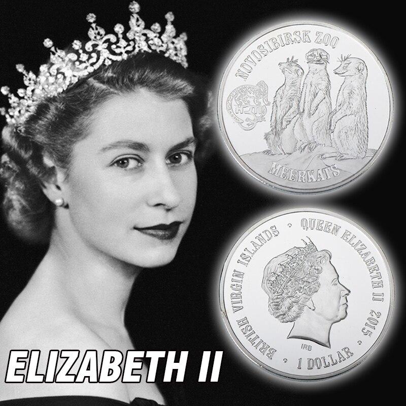Meerkats Állatérme L 1 OZ Ezüst érme Queen Elizabeth II Ausztrália Ezüst érme