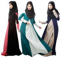 Vestido De Festa Muslim Long Sleeve Lace Patchwork Maxi Dresses Floor length Chiffon Abaya Dress