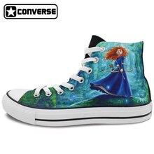 Men Women Skateboarding Shoes Hand Painted Canvas Sneakers Design Brave Princess Merida Converse Brand All Star Shoe