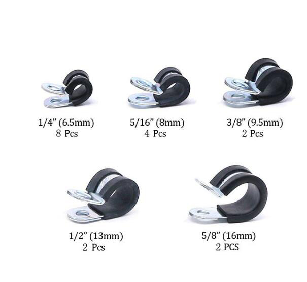 Купить с кэшбэком Free shipping    Pipe Clamp  18pcs/lot Galvanized iron Rubber Lined P Clips Cable Mounting Hose Pipe Clamp Mikalor