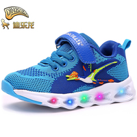 DINOSKULLS Boys Glowing Sneakers With Backlight Luminous Autumn Kids Led Mesh Breathable Shoes Dinosaur Style For Boys 26# 31#