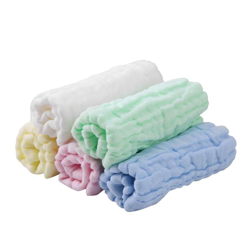Newly 5pcs/lot 6 Layers of Baby Feeding Wipe Towels Cotton Handkerchief Baby Face Towel Fold Square Towel Newborn Washing Towl
