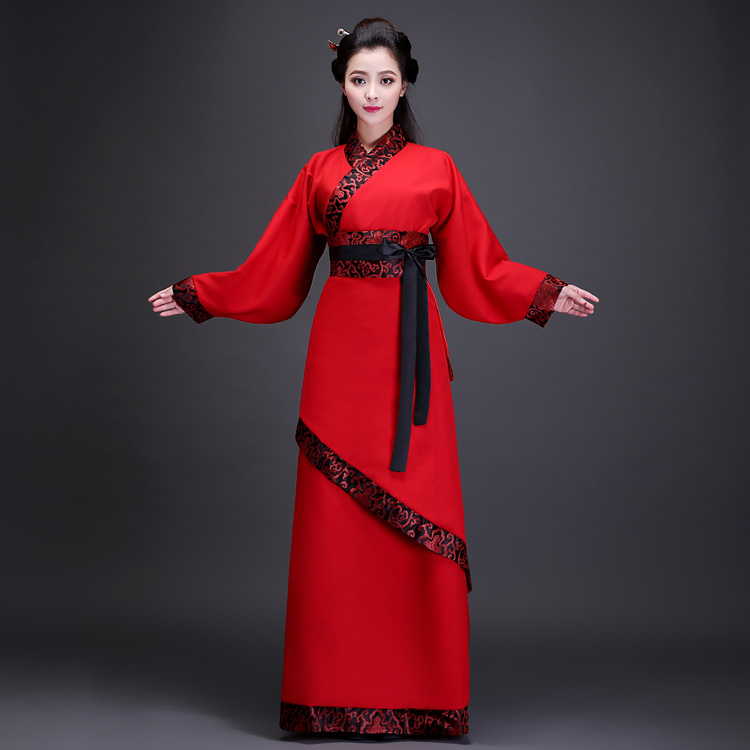 Čínský lidový tanec Červené a černé ženy Tang dynastie Hanfu Starověké oblečení Kostým Stage Dance Show Wear Photography