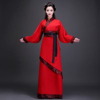 Chinese Folk Dance Red and Black Women Tang Dynasty Hanfu Ancient Clothes Costume Stage Dance Show Wear Photography