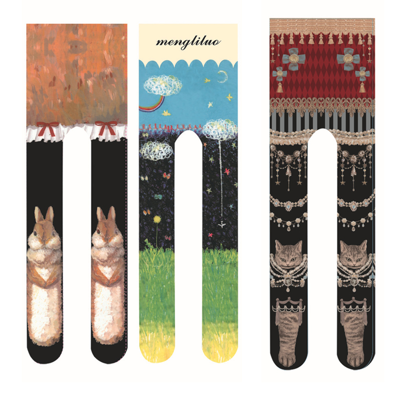 Новинка; колготки с принтом для женщин и девочек в японском стиле Харадзюку; уличная мода; стильные женские колготки с изображением милого кота и кролика