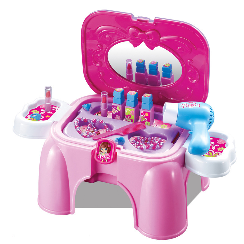 Make-up Meubilair Pretend Speelgoed Meisjes Make Up Set Hand Carry Stoel