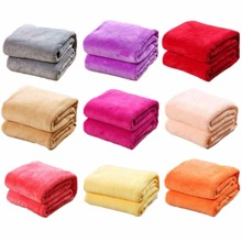 CAMMITEVER Random Color 100*70cm Solid Coral Flannel Blanket Bed Sheet Soft Touch Sofa Travel Home Throw