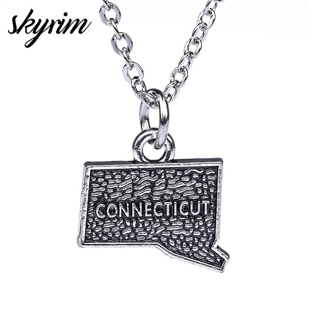 US $0 98 |Skyrim Hiphop USA Connecticut City Charm Antique Silver Plated  Map Pendant Necklace for Men/Women North America Jewelry Gifts-in Pendant
