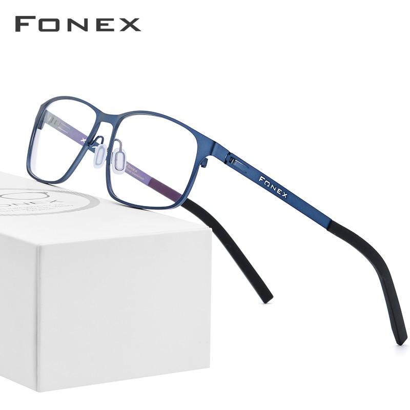 FONEX Alloy Optical Glasses Men Square Myopia Prescription Eyeglasses Frame Male Metal Korea Screwless Eyewear 983