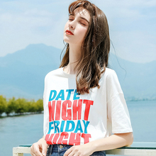 AcFirst Summer White Fashion Women Tops Casual T-shirts Shirt O-Neck Short Plus Size T Cotton Sexy Tees Print