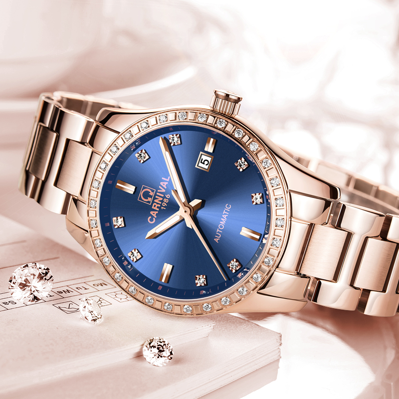 Femmes automatique mécanique montre dames de luxe saphir bleu cadran fille robe entreprise horloge de mode marques Auto Date Relogio - 3
