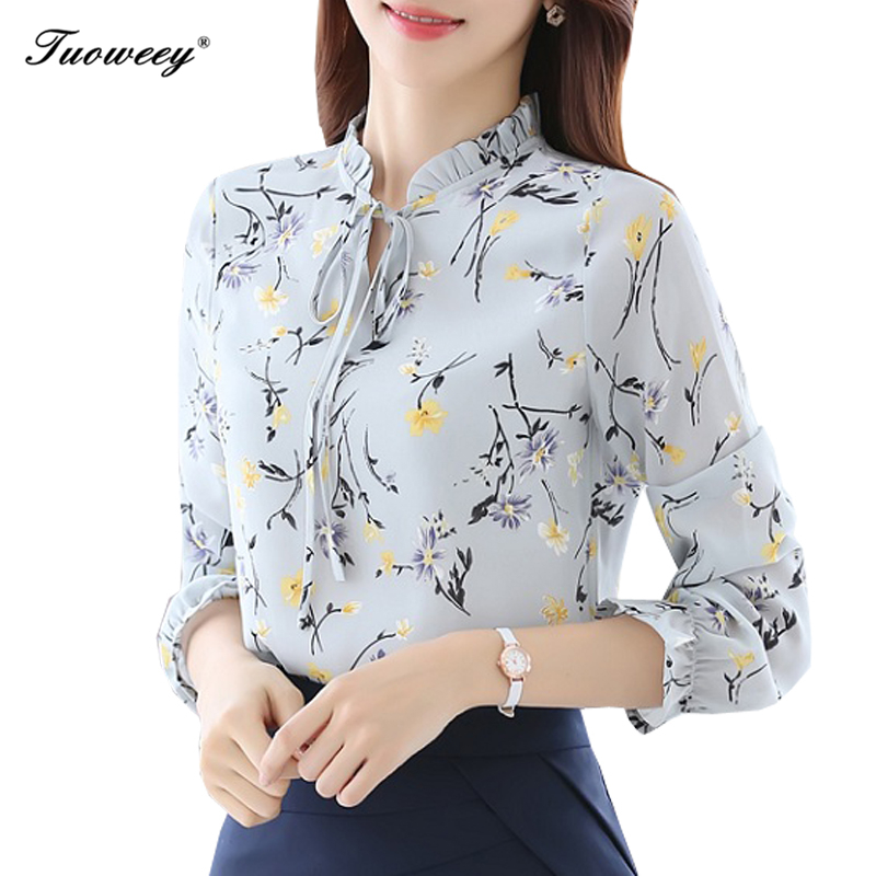 2019 Summer Floral Printed female blouse shirt Casual O-Neck shirt bow 3/4 sleeve blouse women OL Elegant top blusas With bow