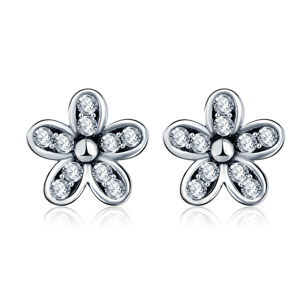 Cute Flower Shape Stud Earrings for Women White Silver Color Pandora  Earrings Jewelry Fashion Blossom Boucle D'oreille Femme