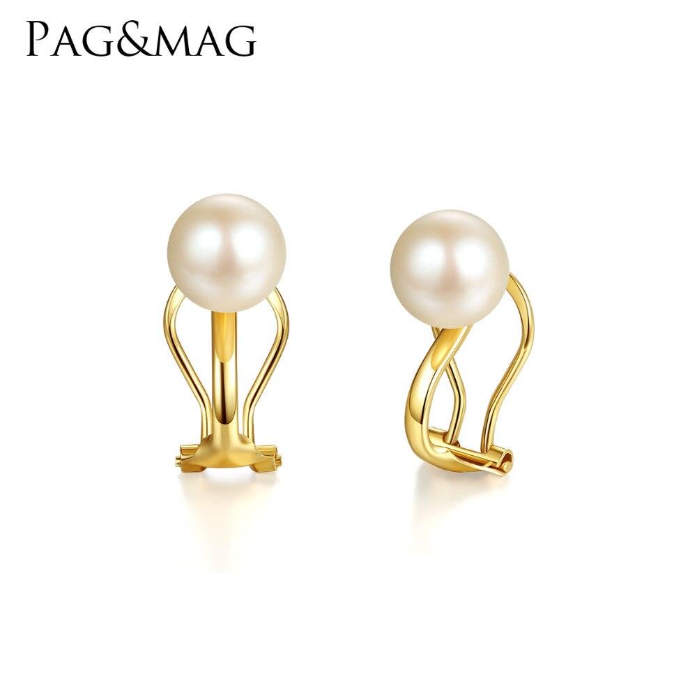 PAG & MAG Fashion élégant 7-8mm naturel rond perle Clip boucles d'oreilles pour les femmes véritable 18 K or jaune sans oreille Clip bijoux Au750