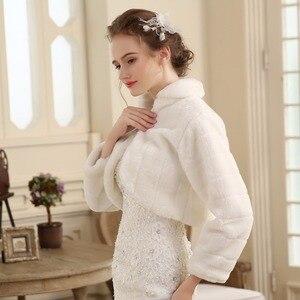 Image 4 - SHAMAI Fur Shawl Wedding Wrap women Winter Long Sleeve Lvory Bridal Jackets Married Outerwear Bride Cape Autumn Winter Jacket