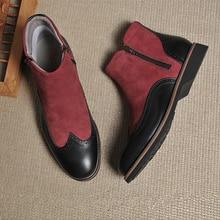 Botas de invierno para hombre, botas chelsea de ante de vaca de cuero auténtico, zapatos oxford hechos a mano para hombre, botas cortas, zapatos 2020