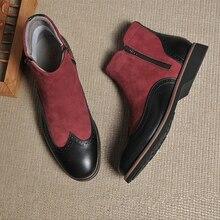 Mùa Đông Nam Giày Da Thật Chính Hãng Da Bò Da Lộn Cổ Chân Giày Chelsea Boot Nam Handmade Giày Oxford Nam Cổ Ngắn Tăng Giày 2020