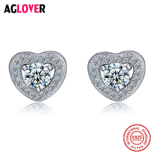 AGLOVER Luxury Heart Band Real Pure 925 Sterling Silver Jewelry Cubic Zircon Stone Earrings Fashion Women Gift