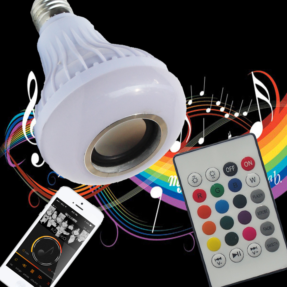 Wireless Bluetooth Speaker +12W RGB Bulb E27 LED Lamp 100-240V 110V 220V Smart Led Light Music Player Audio with Remote Control e27 app remote control professional bluetooth smart led bulb intelligent colorful flashing round head music lamp led night light
