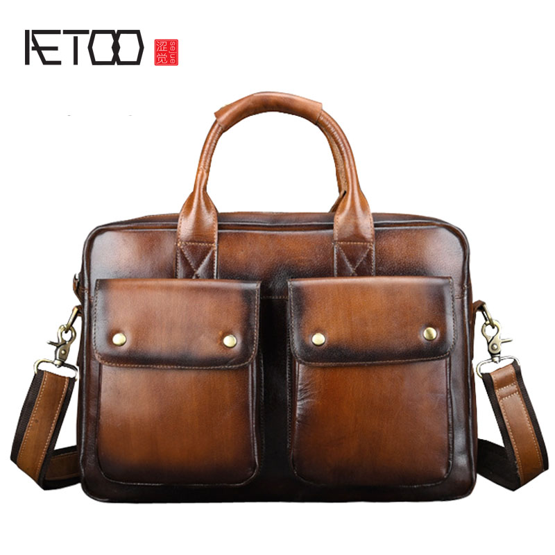 AETOO Genuine Leather Briefcase Men Business Fashion Messenger Bag 14' Laptop Bag Crossbody Bags Tote Casual